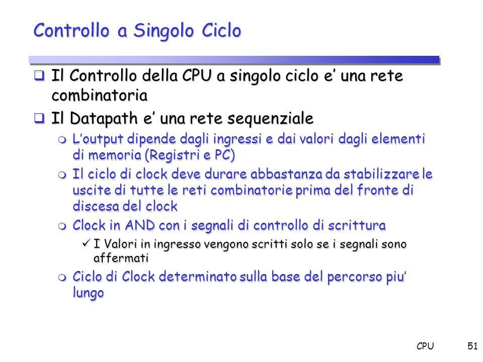 CPU51 Controllo a Singolo Ciclo Il Controllo della CPU a singolo ciclo e una rete combinatoria Il Controllo della CPU a singolo ciclo e una rete combi