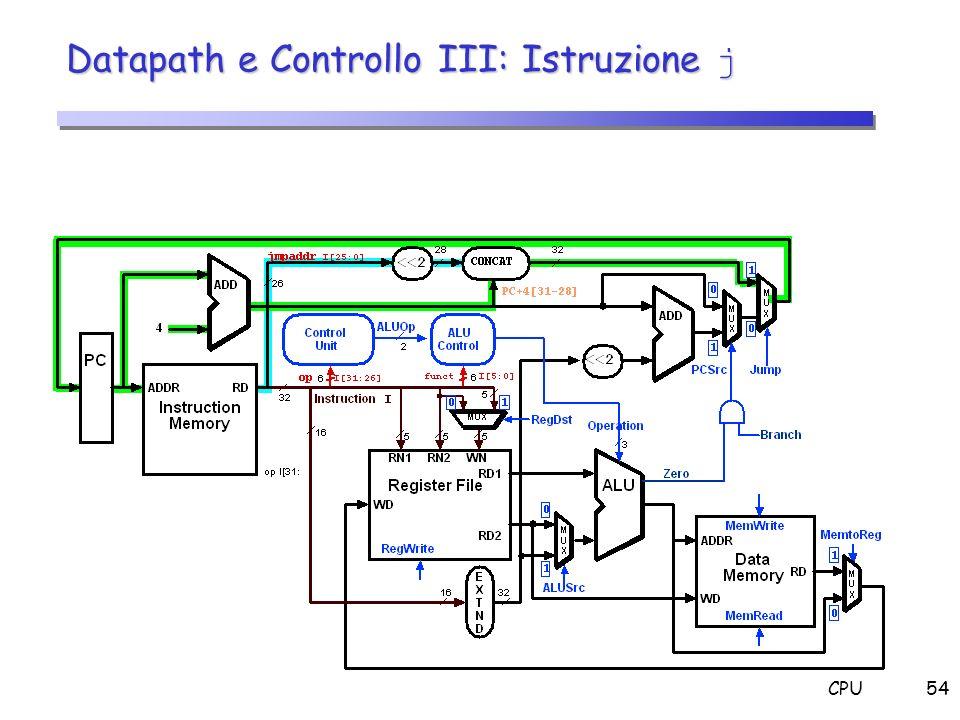 CPU54 Datapath e Controllo III: Istruzione j