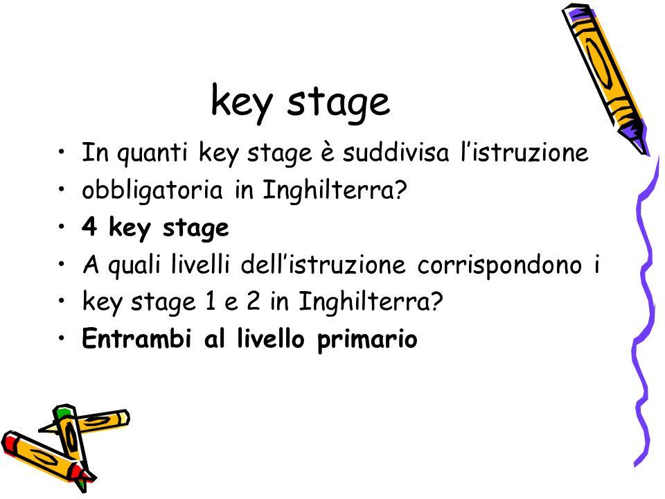 key stage In quanti key stage è suddivisa listruzione obbligatoria in Inghilterra? 4 key stage A quali livelli dellistruzione corrispondono i key stag