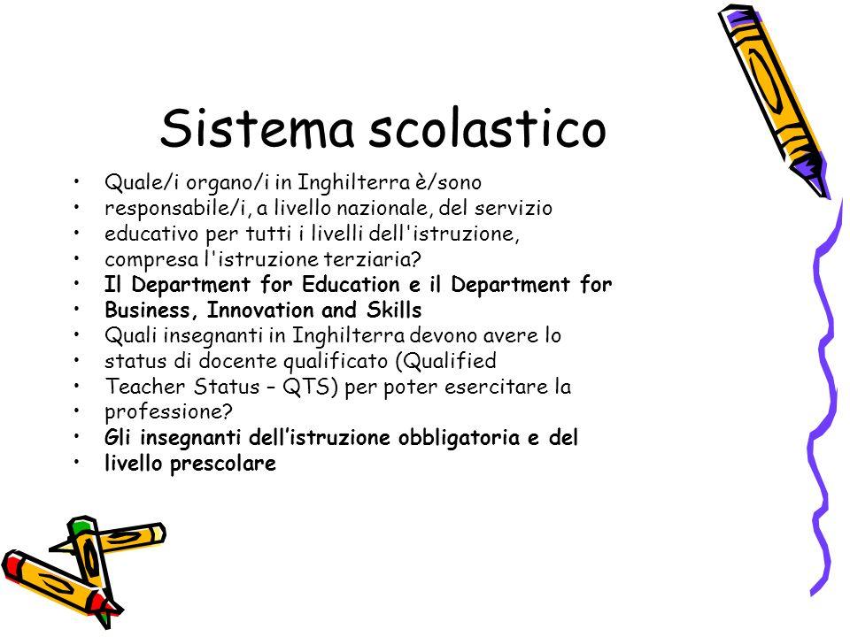 Sistema scolastico Quale/i organo/i in Inghilterra è/sono responsabile/i, a livello nazionale, del servizio educativo per tutti i livelli dell'istruzi