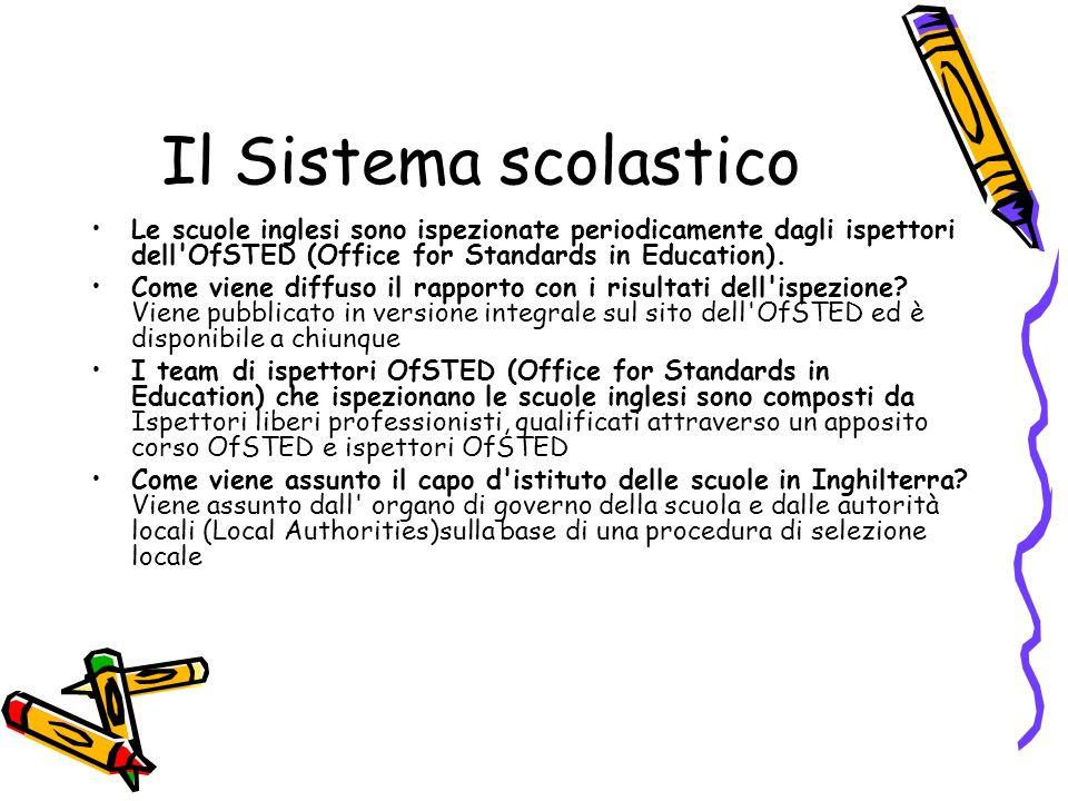 Il Sistema scolastico Le scuole inglesi sono ispezionate periodicamente dagli ispettori dell'OfSTED (Office for Standards in Education). Come viene di