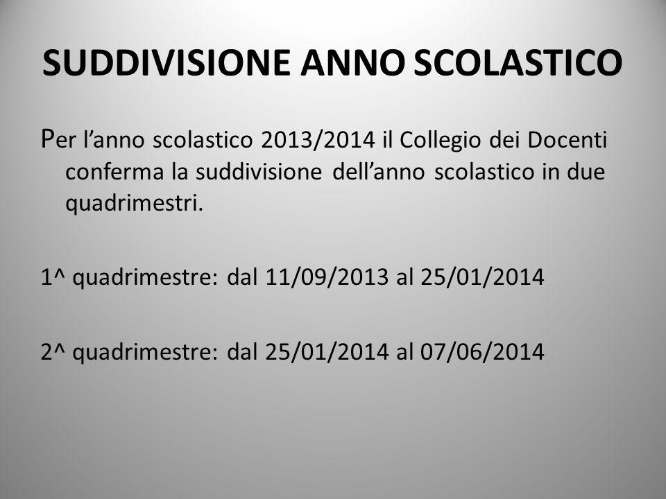 SUDDIVISIONE ANNO SCOLASTICO P er lanno scolastico 2013/2014 il Collegio dei Docenti conferma la suddivisione dellanno scolastico in due quadrimestri.
