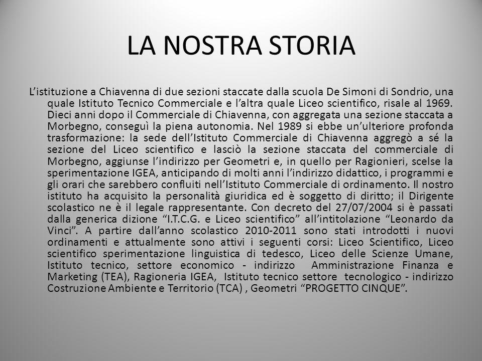 LA NOSTRA STORIA Listituzione a Chiavenna di due sezioni staccate dalla scuola De Simoni di Sondrio, una quale Istituto Tecnico Commerciale e laltra q