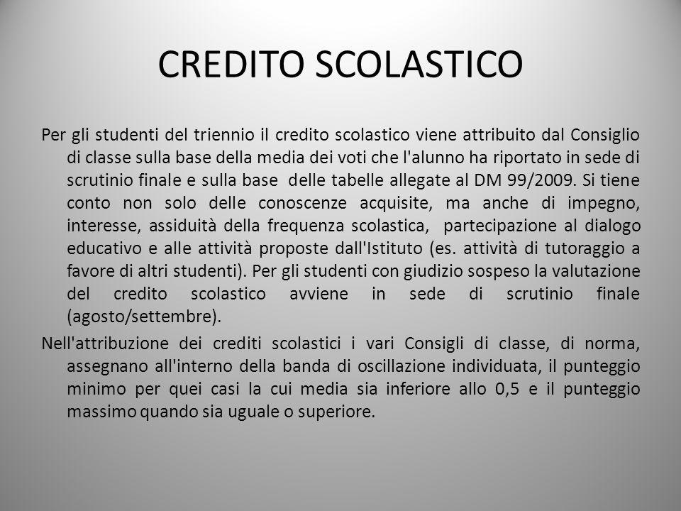 CREDITO SCOLASTICO Per gli studenti del triennio il credito scolastico viene attribuito dal Consiglio di classe sulla base della media dei voti che l'