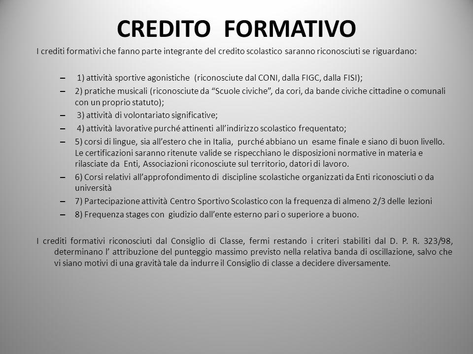CREDITO FORMATIVO I crediti formativi che fanno parte integrante del credito scolastico saranno riconosciuti se riguardano: – 1) attività sportive ago