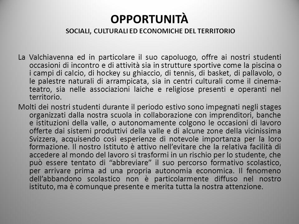 OPPORTUNITÀ SOCIALI, CULTURALI ED ECONOMICHE DEL TERRITORIO La Valchiavenna ed in particolare il suo capoluogo, offre ai nostri studenti occasioni di