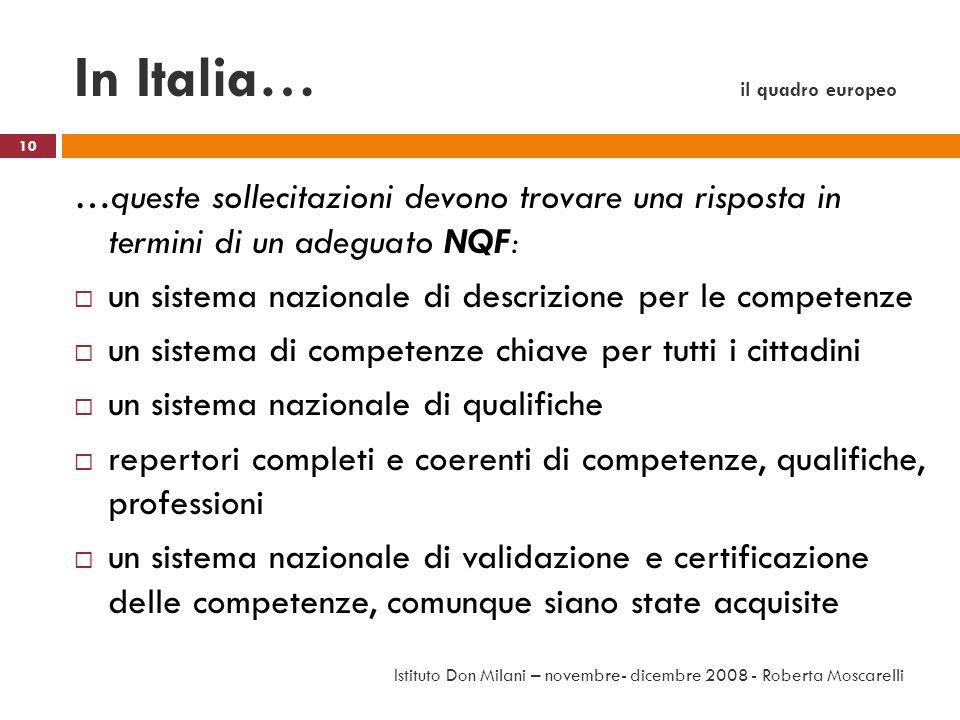 In Italia… il quadro europeo …queste sollecitazioni devono trovare una risposta in termini di un adeguato NQF: un sistema nazionale di descrizione per