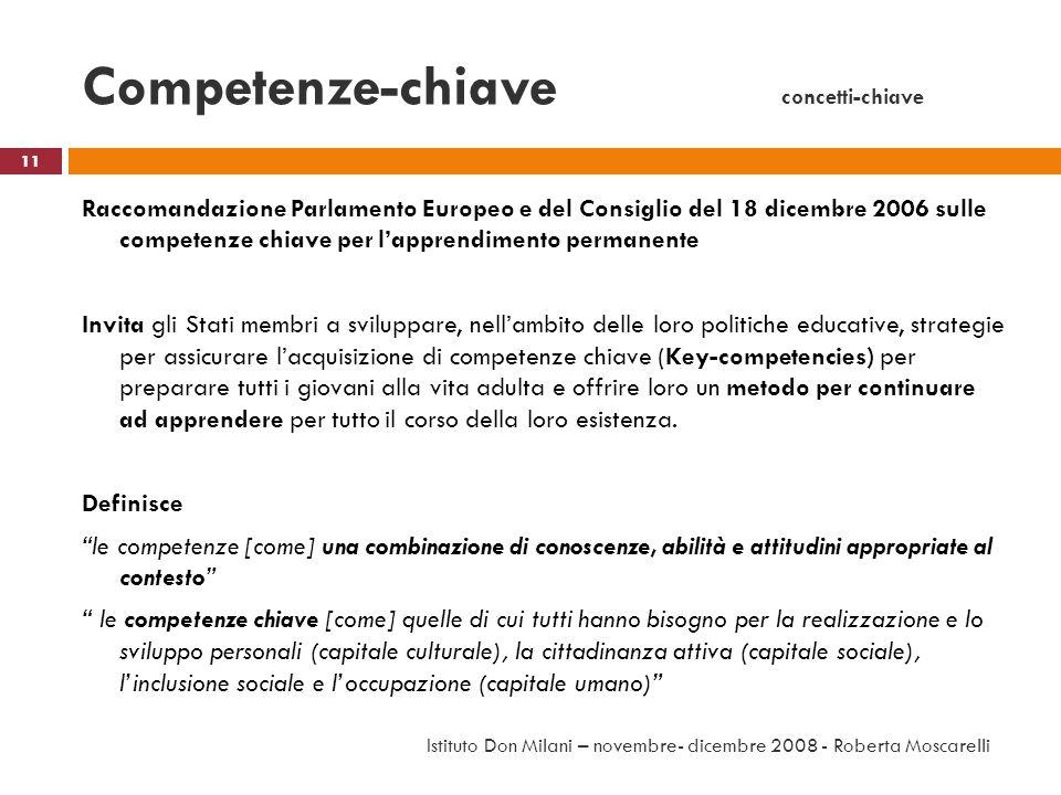 Competenze-chiave concetti-chiave Raccomandazione Parlamento Europeo e del Consiglio del 18 dicembre 2006 sulle competenze chiave per lapprendimento p