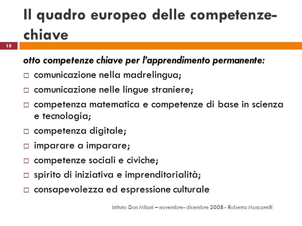 Il quadro europeo delle competenze- chiave otto competenze chiave per lapprendimento permanente: comunicazione nella madrelingua; comunicazione nelle