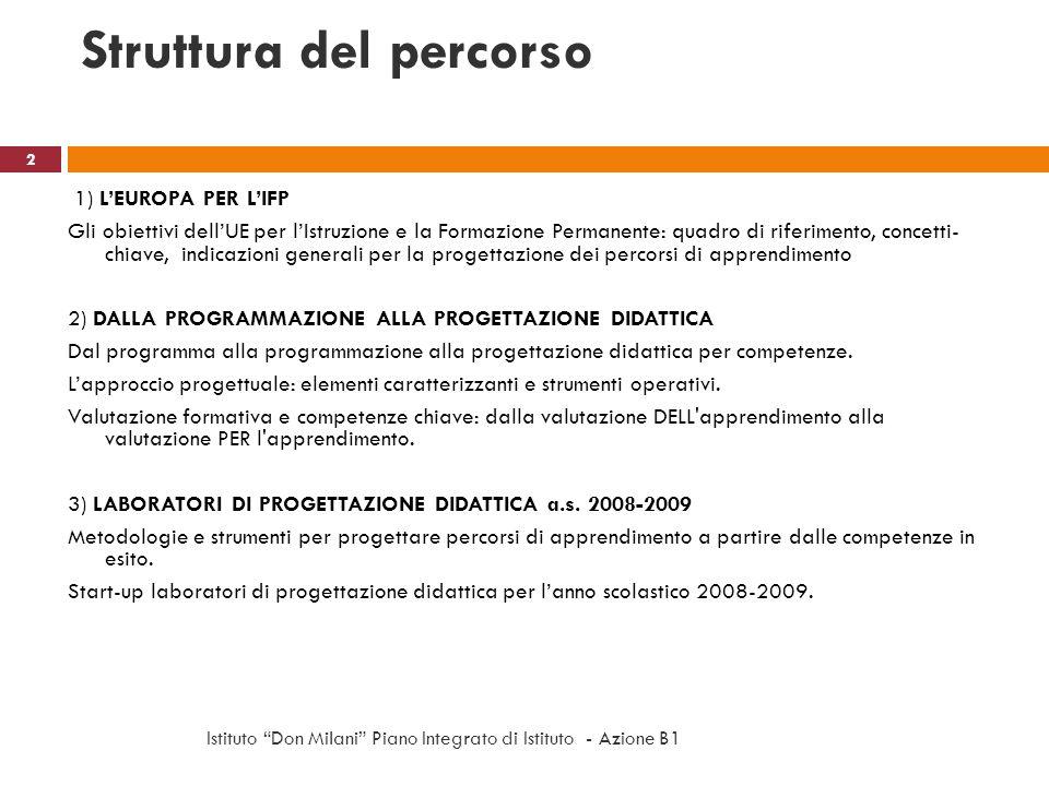 Struttura del percorso 1) LEUROPA PER LIFP Gli obiettivi dellUE per lIstruzione e la Formazione Permanente: quadro di riferimento, concetti- chiave, i