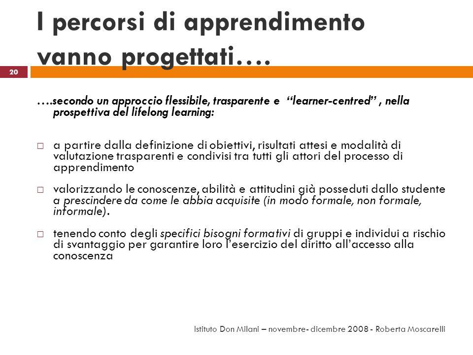 I percorsi di apprendimento vanno progettati…. ….secondo un approccio flessibile, trasparente e learner-centred, nella prospettiva del lifelong learni
