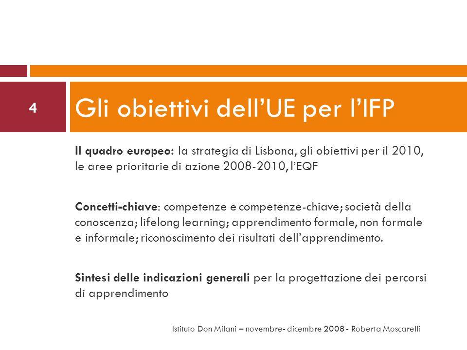 Il quadro europeo: la strategia di Lisbona, gli obiettivi per il 2010, le aree prioritarie di azione 2008-2010, lEQF Concetti-chiave: competenze e com