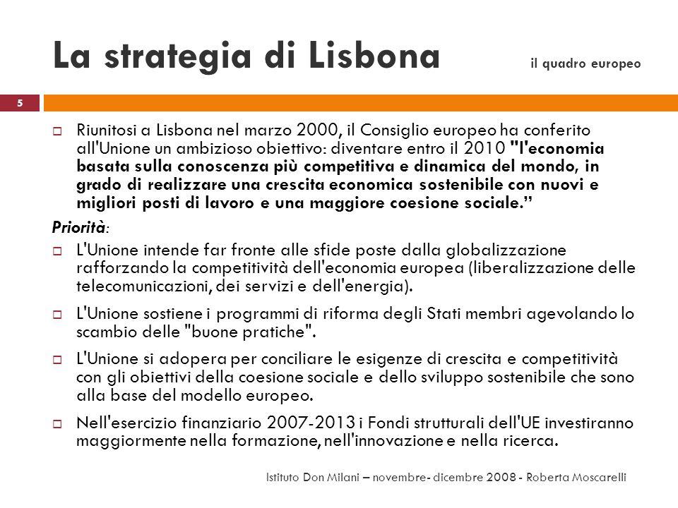 La strategia di Lisbona il quadro europeo Riunitosi a Lisbona nel marzo 2000, il Consiglio europeo ha conferito all'Unione un ambizioso obiettivo: div
