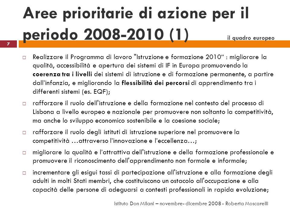 Aree prioritarie di azione per il periodo 2008-2010 (1) il quadro europeo Realizzare il Programma di lavoro