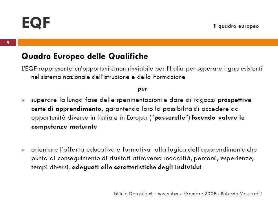 EQF il quadro europeo Quadro Europeo delle Qualifiche LEQF rappresenta unopportunità non rinviabile per lItalia per superare i gap esistenti nel siste