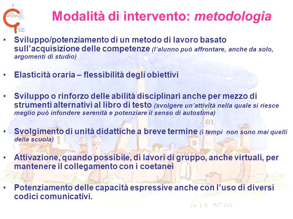 Modalità di intervento: metodologia Sviluppo/potenziamento di un metodo di lavoro basato sullacquisizione delle competenze (lalunno può affrontare, an