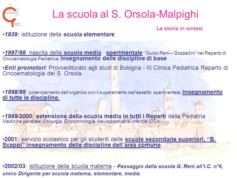 La scuola al S. Orsola-Malpighi La storia in sintesi 1939: istituzione della scuola elementare 1997/98: nascita della scuola media sperimentale Guido
