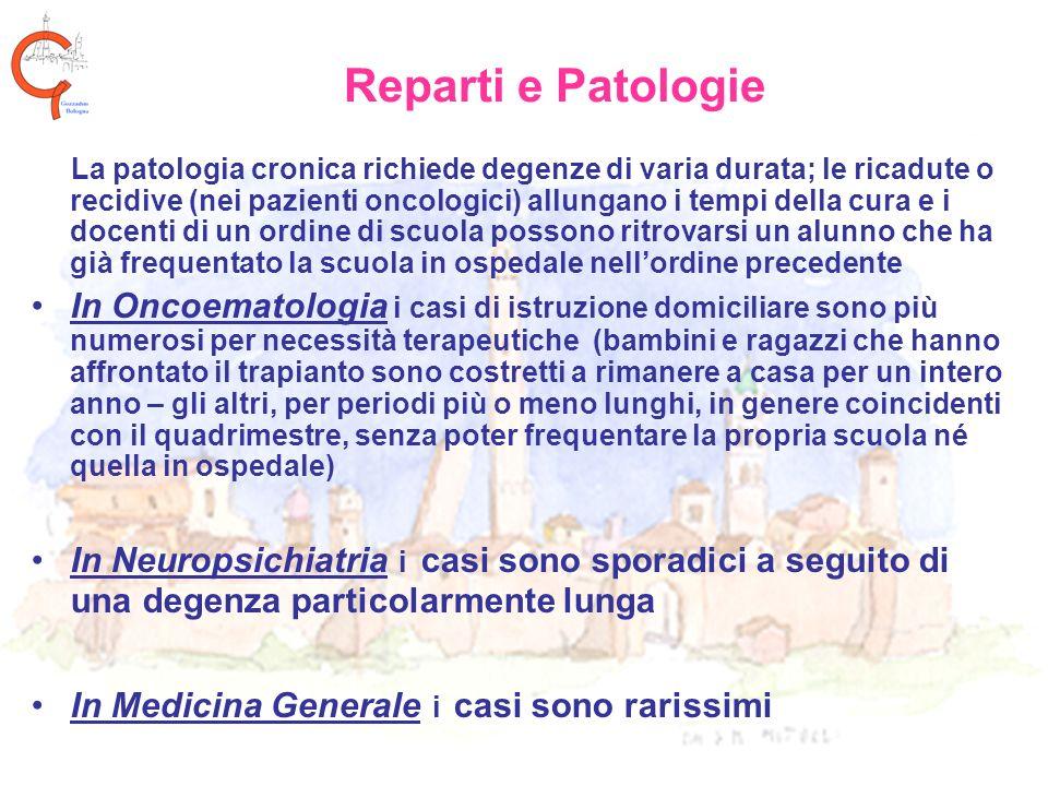 Reparti e Patologie La patologia cronica richiede degenze di varia durata; le ricadute o recidive (nei pazienti oncologici) allungano i tempi della cu