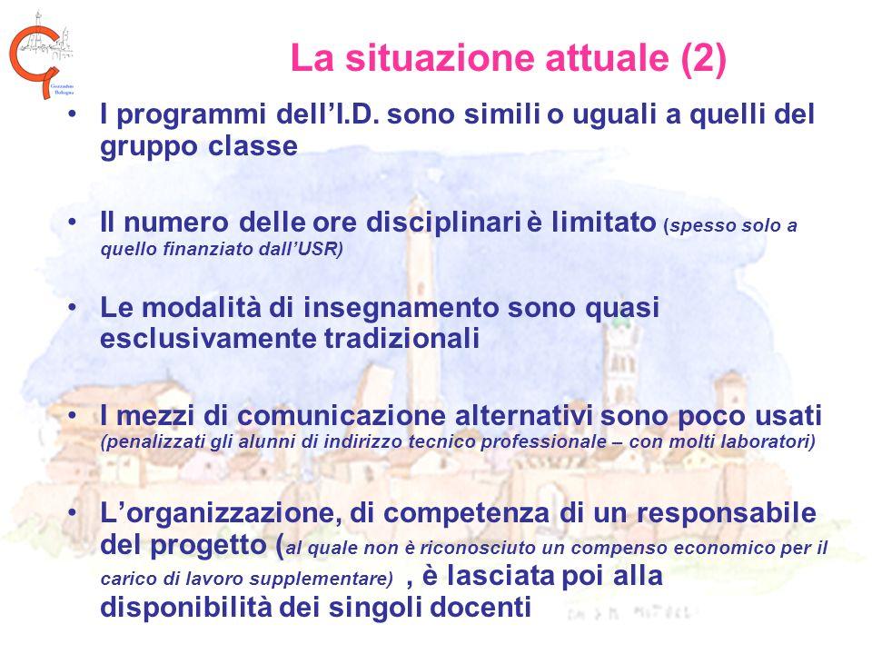 La situazione attuale (2) I programmi dellI.D. sono simili o uguali a quelli del gruppo classe Il numero delle ore disciplinari è limitato (spesso sol