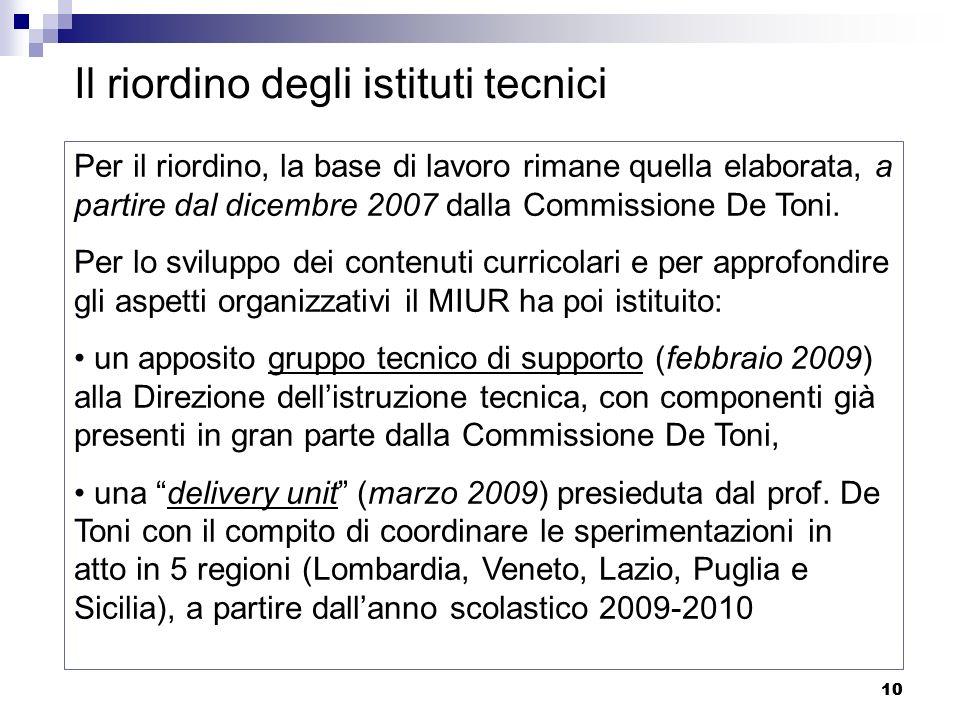 10 Il riordino degli istituti tecnici Per il riordino, la base di lavoro rimane quella elaborata, a partire dal dicembre 2007 dalla Commissione De Ton