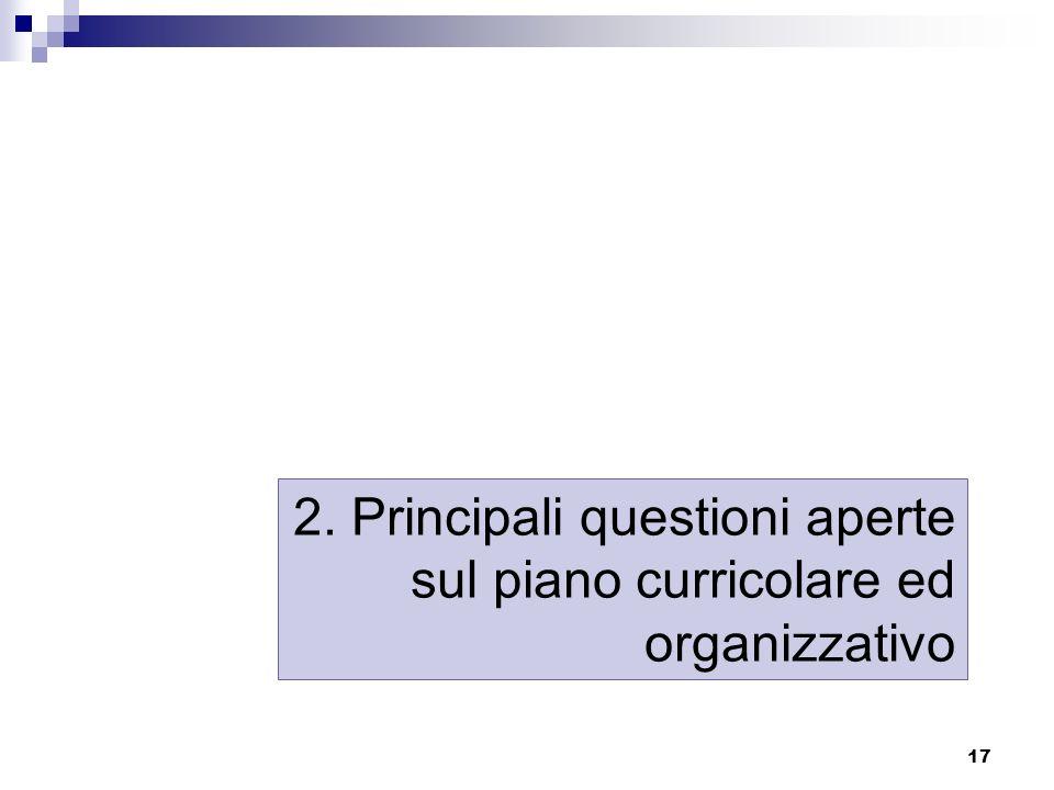 17 2. Principali questioni aperte sul piano curricolare ed organizzativo