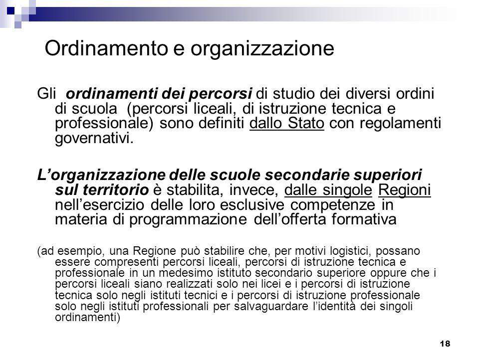 18 Ordinamento e organizzazione Gli ordinamenti dei percorsi di studio dei diversi ordini di scuola (percorsi liceali, di istruzione tecnica e profess