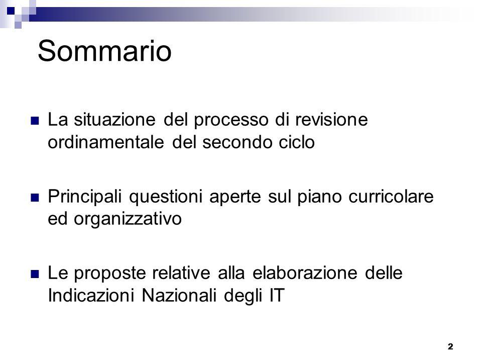 2 2 Sommario La situazione del processo di revisione ordinamentale del secondo ciclo Principali questioni aperte sul piano curricolare ed organizzativ