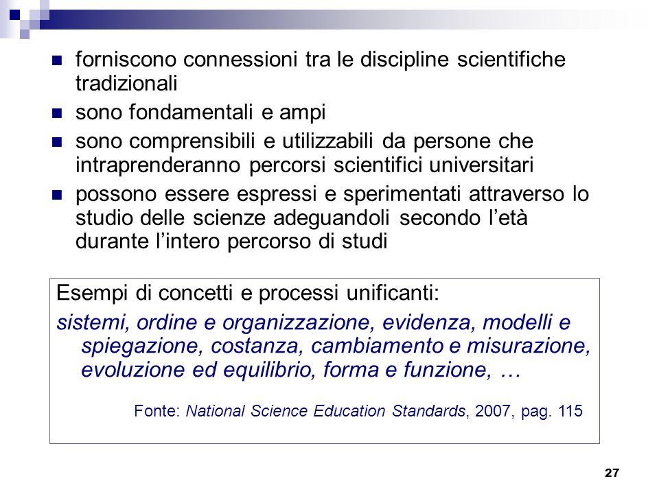 27 forniscono connessioni tra le discipline scientifiche tradizionali sono fondamentali e ampi sono comprensibili e utilizzabili da persone che intrap