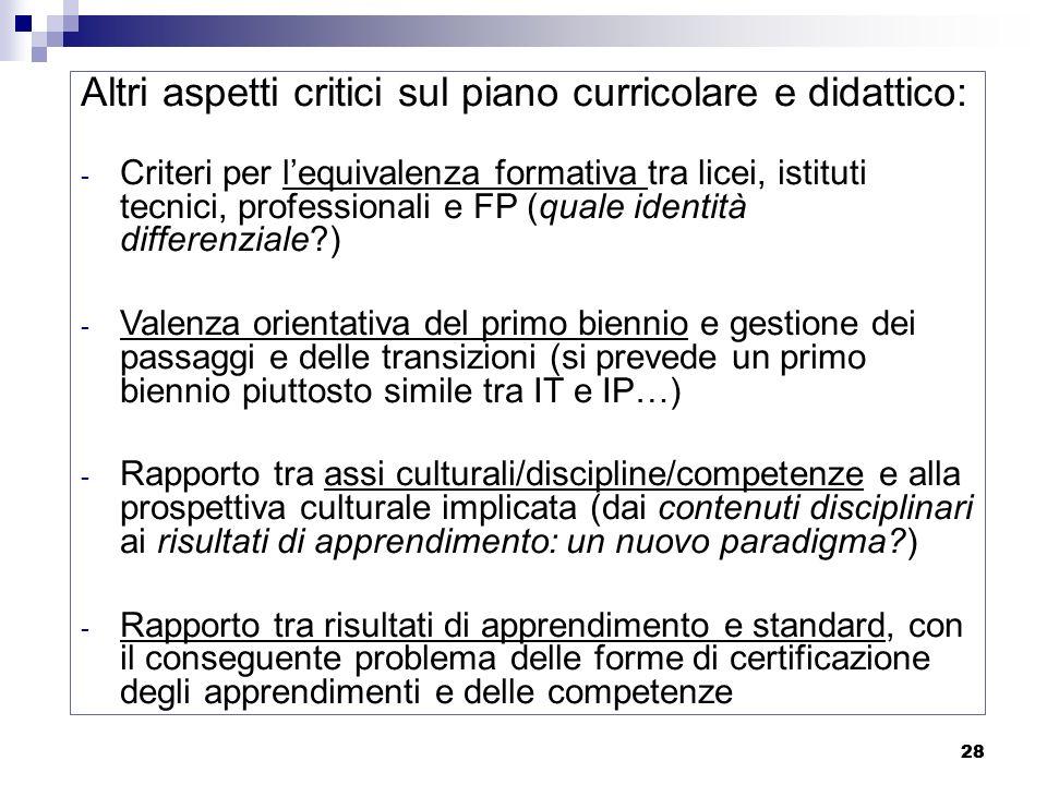 28 Altri aspetti critici sul piano curricolare e didattico: - Criteri per lequivalenza formativa tra licei, istituti tecnici, professionali e FP (qual
