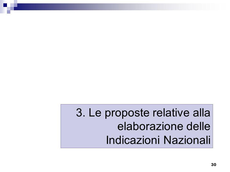 30 3. Le proposte relative alla elaborazione delle Indicazioni Nazionali
