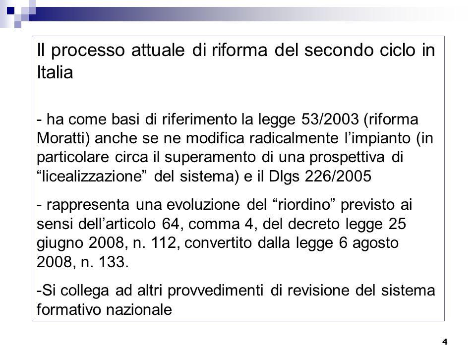 4 Il processo attuale di riforma del secondo ciclo in Italia - ha come basi di riferimento la legge 53/2003 (riforma Moratti) anche se ne modifica rad