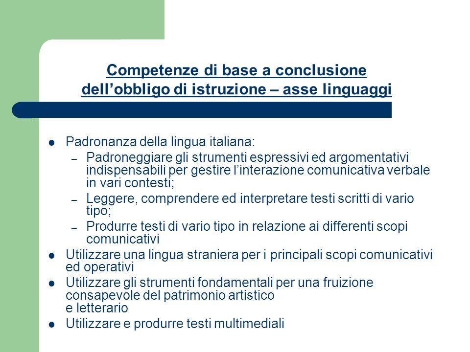 Padronanza della lingua italiana: – Padroneggiare gli strumenti espressivi ed argomentativi indispensabili per gestire linterazione comunicativa verba