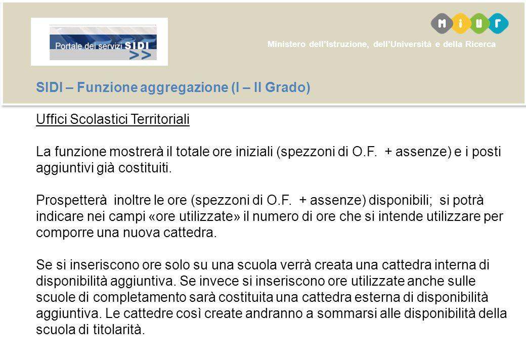 Ministero dellIstruzione, dellUniversità e della Ricerca SIDI – Funzione aggregazione (Primaria - Infanzia) Uffici Scolastici Territoriali – Riapertur