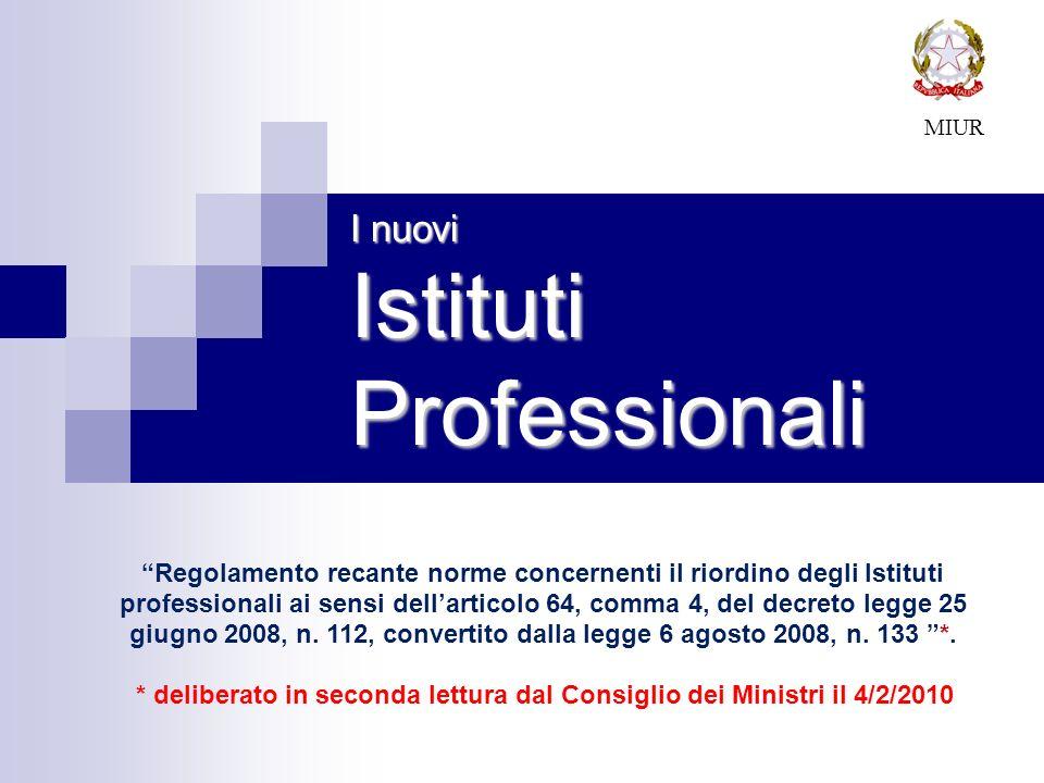 I nuovi Istituti Professionali MIUR Regolamento recante norme concernenti il riordino degli Istituti professionali ai sensi dellarticolo 64, comma 4,