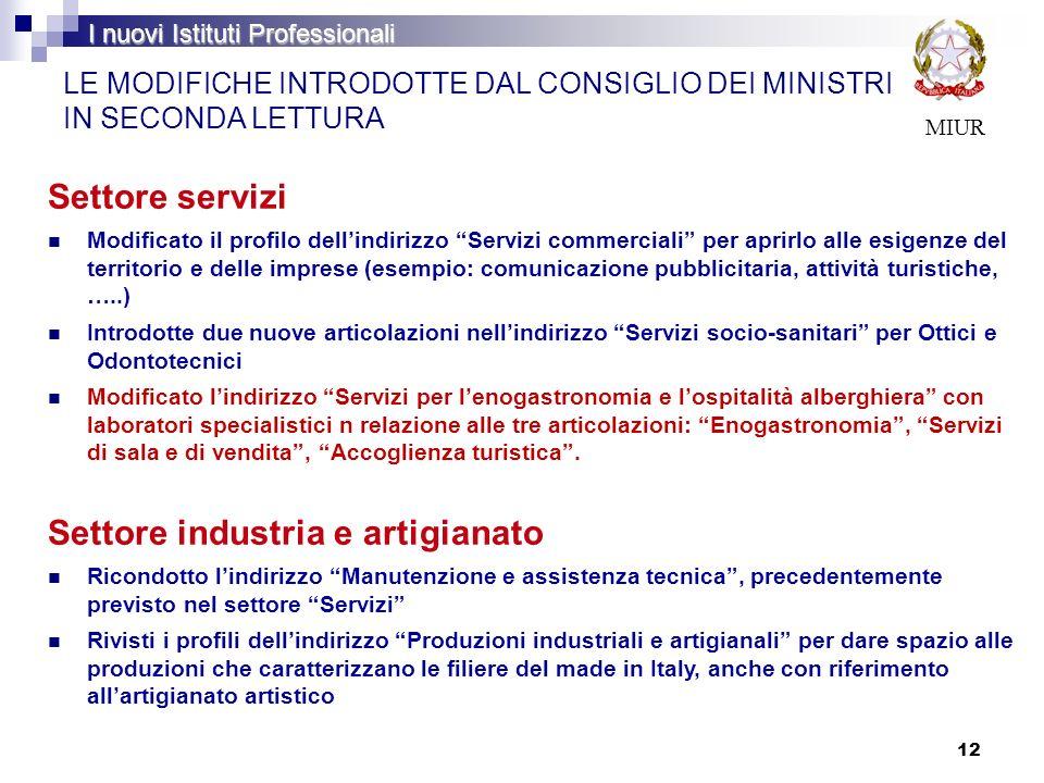 12 LE MODIFICHE INTRODOTTE DAL CONSIGLIO DEI MINISTRI IN SECONDA LETTURA Settore servizi Modificato il profilo dellindirizzo Servizi commerciali per a