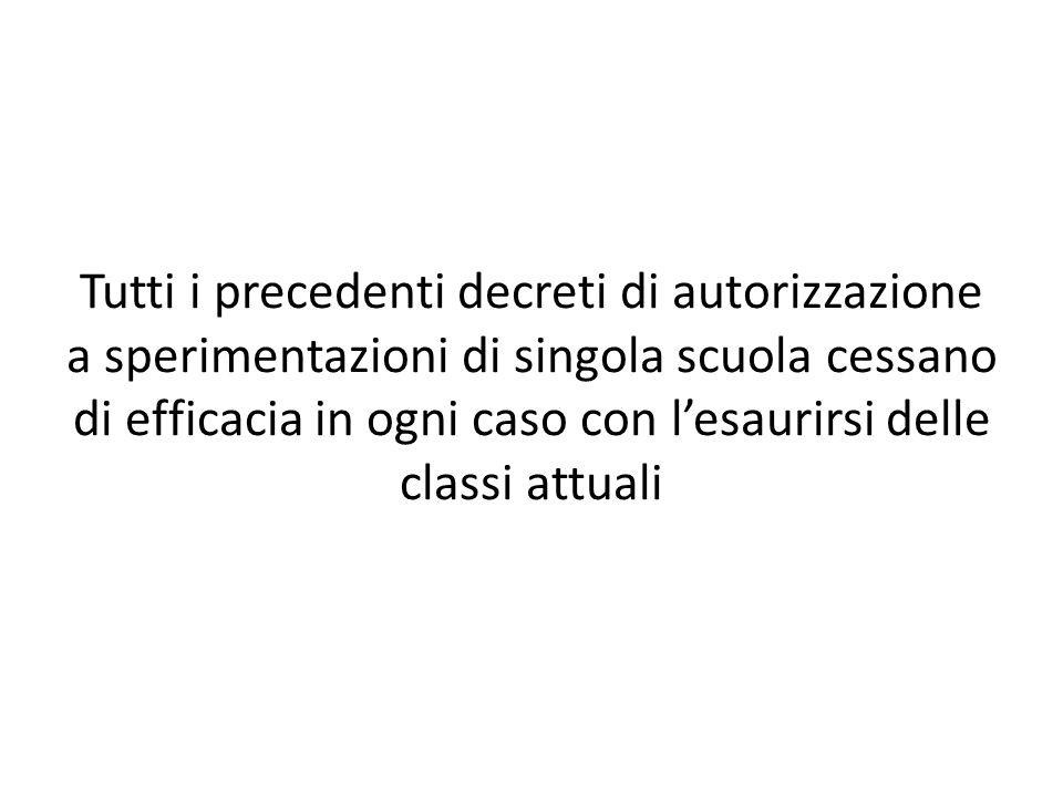 Tutti i precedenti decreti di autorizzazione a sperimentazioni di singola scuola cessano di efficacia in ogni caso con lesaurirsi delle classi attuali
