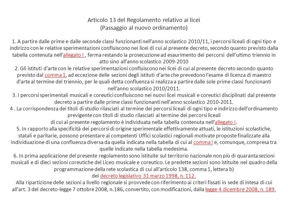 Articolo 13 del Regolamento relativo ai licei (Passaggio al nuovo ordinamento) 1.