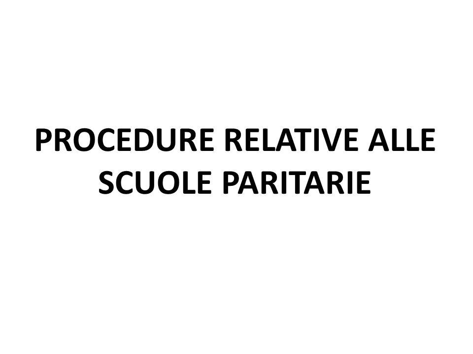 PROCEDURE RELATIVE ALLE SCUOLE PARITARIE