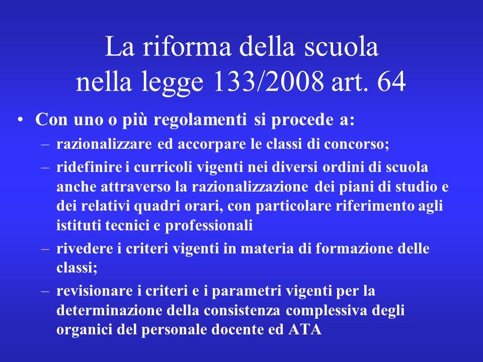 La riforma della scuola nella legge 133/2008 art.