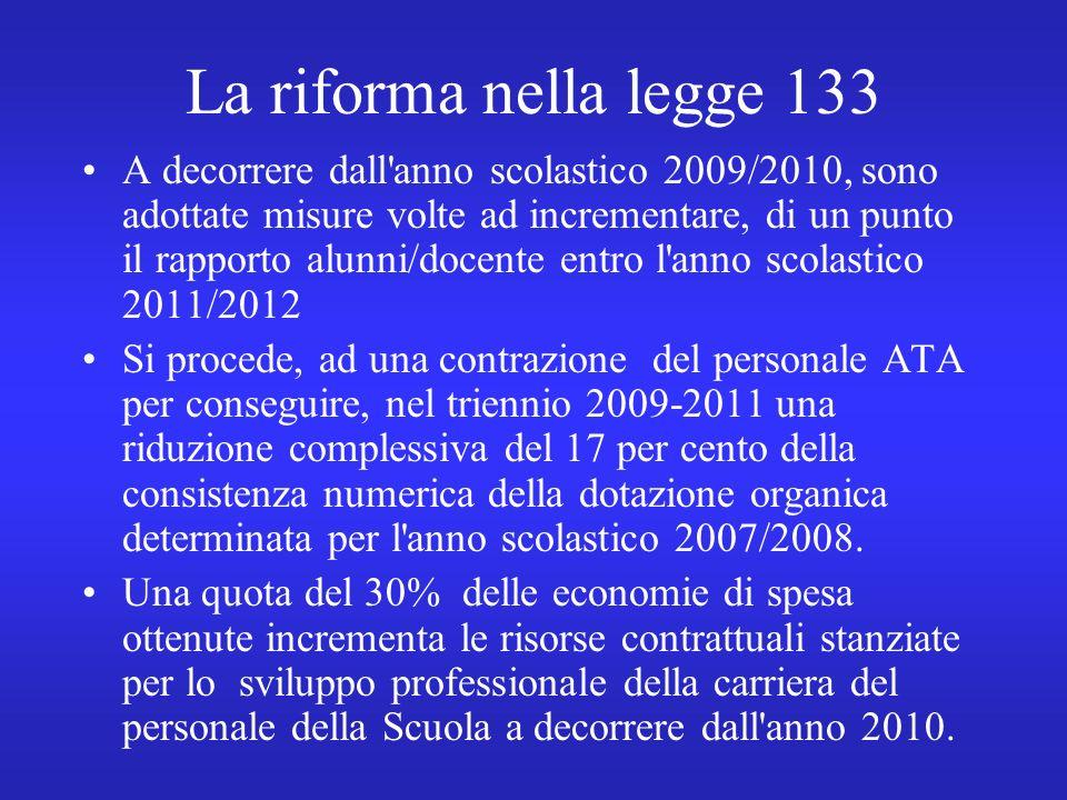 La riforma nella legge 133 A decorrere dall anno scolastico 2009/2010, sono adottate misure volte ad incrementare, di un punto il rapporto alunni/docente entro l anno scolastico 2011/2012 Si procede, ad una contrazione del personale ATA per conseguire, nel triennio 2009-2011 una riduzione complessiva del 17 per cento della consistenza numerica della dotazione organica determinata per l anno scolastico 2007/2008.