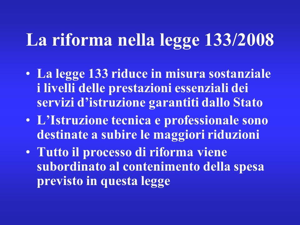 La riforma nella legge 133/2008 La legge 133 riduce in misura sostanziale i livelli delle prestazioni essenziali dei servizi distruzione garantiti dallo Stato LIstruzione tecnica e professionale sono destinate a subire le maggiori riduzioni Tutto il processo di riforma viene subordinato al contenimento della spesa previsto in questa legge
