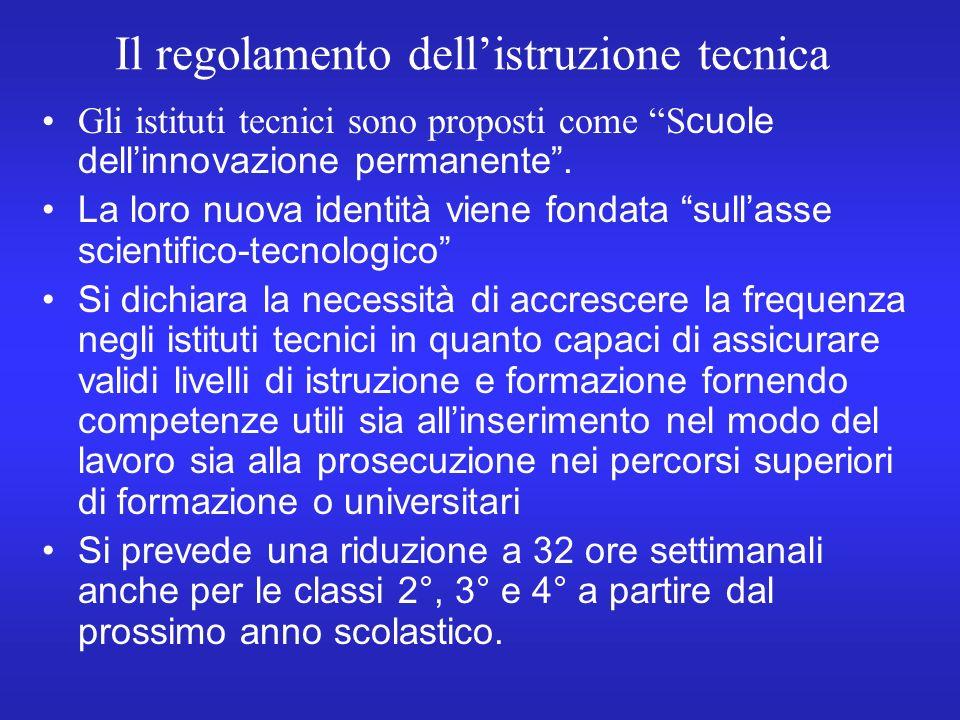Il regolamento dellistruzione tecnica Gli istituti tecnici sono proposti come S cuole dellinnovazione permanente.