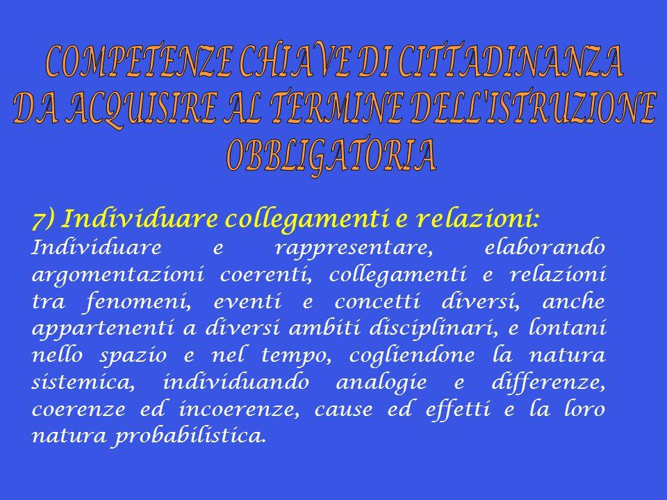 7) Individuare collegamenti e relazioni: Individuare e rappresentare, elaborando argomentazioni coerenti, collegamenti e relazioni tra fenomeni, event