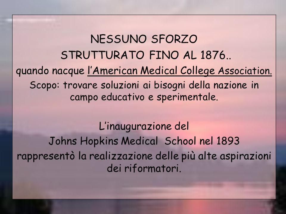 NESSUNO SFORZO STRUTTURATO FINO AL 1876.. quando nacque lAmerican Medical College Association. Scopo: trovare soluzioni ai bisogni della nazione in ca