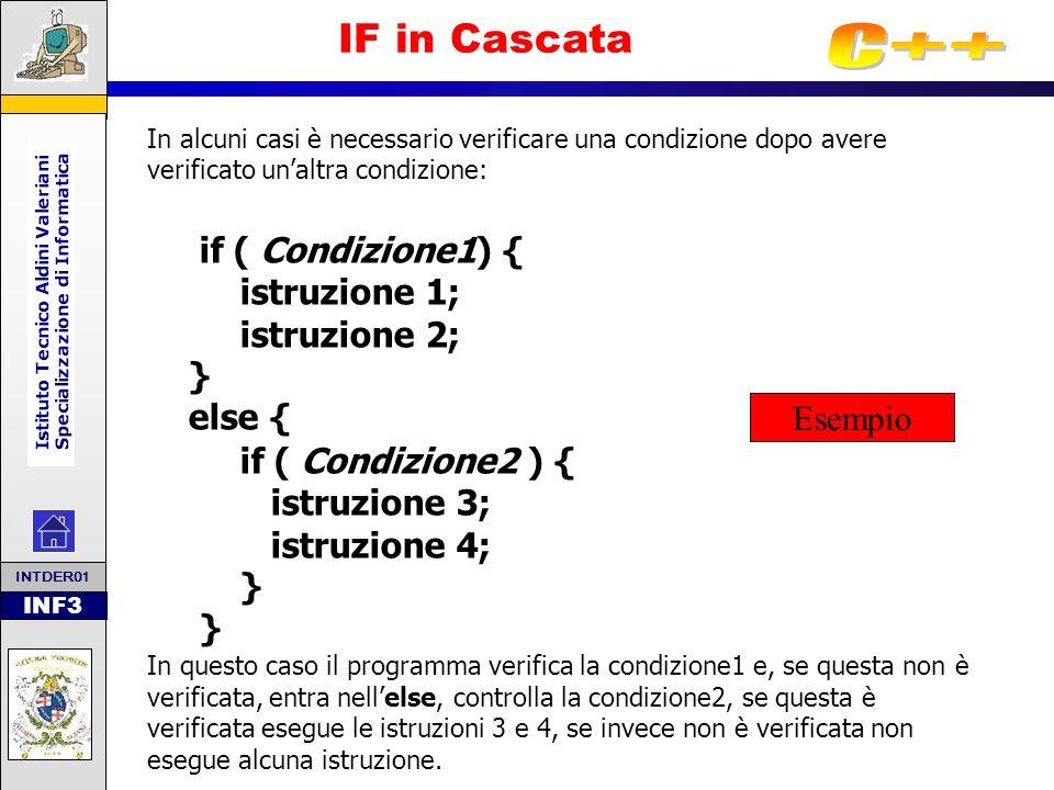 INF3 IF in Cascata In alcuni casi è necessario verificare una condizione dopo avere verificato unaltra condizione: if ( Condizione1) { istruzione 1; i