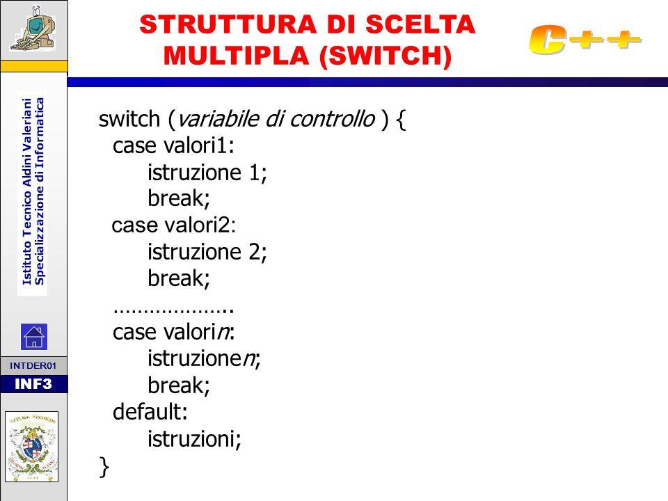 INF3 STRUTTURA DI SCELTA MULTIPLA (SWITCH) Per risolvere situazioni più complesse rispetto alla struttura alternativa è stato introdotto lo schema della scelta multipla (o struttura di selezione multipla).
