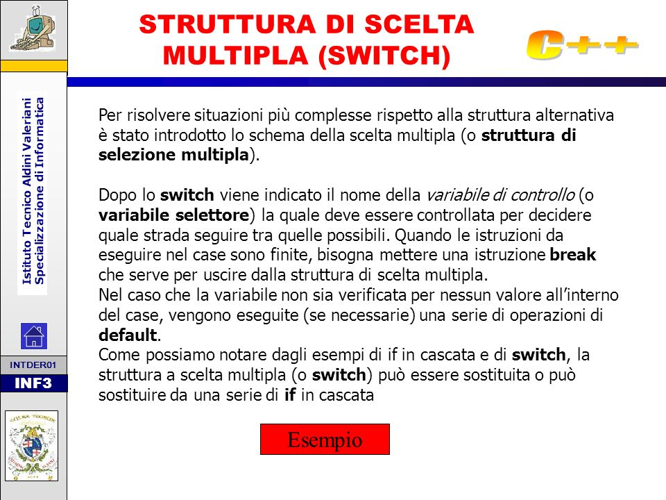 INF3 STRUTTURA DI SCELTA MULTIPLA (SWITCH) Per risolvere situazioni più complesse rispetto alla struttura alternativa è stato introdotto lo schema del