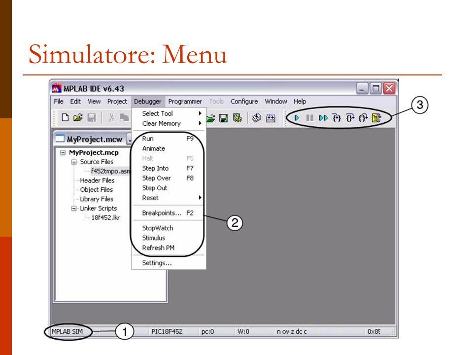 Simulatore: Comandi debugger Esegue una istruzione del programma.