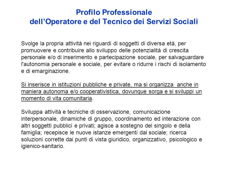 Profilo Professionale dellOperatore e del Tecnico dei Servizi Sociali Svolge la propria attività nei riguardi di soggetti di diversa età, per promuove