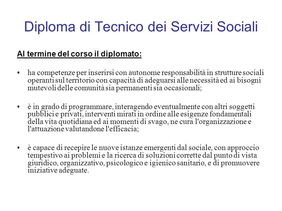 Diploma di Tecnico dei Servizi Sociali Al termine del corso il diplomato: ha competenze per inserirsi con autonome responsabilità in strutture sociali